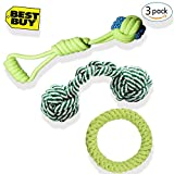 Grentay Dog Rope Toys, Dog Toy Set, 3 Pieces Pets Dog Chew Toy - Donuts/ Interactive Handball/ Weaving Baseball, Durable Chew Material Pet Toy for Puppy& Medium Dog Chewer