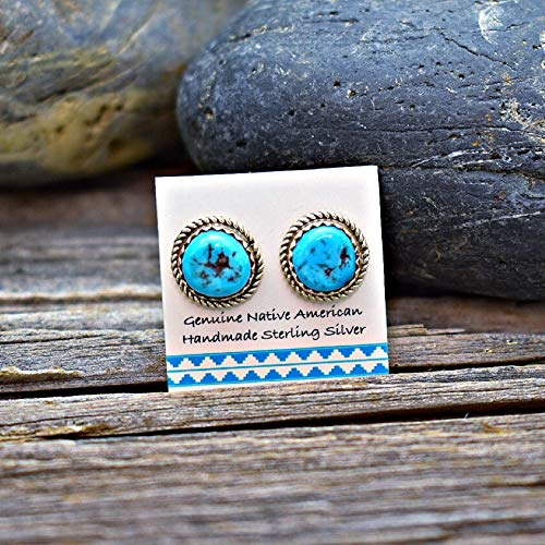 Genuine Kingman Turquoise Stud Earrings in 925 Sterling Silver, Concho Style, Authentic Navajo Native American, Handmade in the USA, Nickle Free