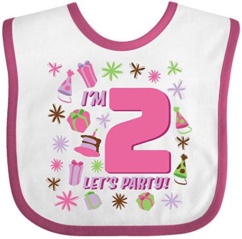 - Inktastic - I'm Two, Let's Party!- 2nd Birthday Baby Bib White/Raspberry