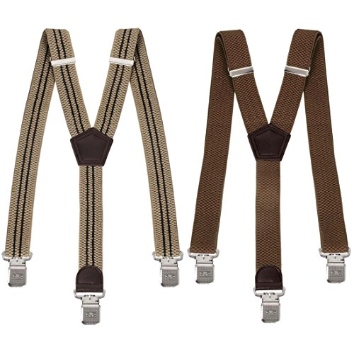 Bundle Monster Mens 2pc Heavy Duty Y-Back Adjustable Strap Suspenders, Brown from Bundle Monster