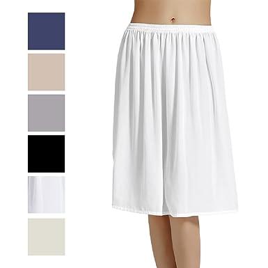Femme Jupon Lingerie sous-Jupe Robe Mousseline de Soie Blanc Noir Ivoire  Court Mi- 3b024d1b9381