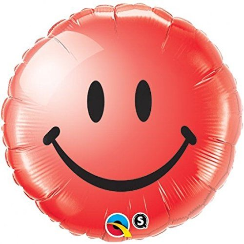 - Qualatex Foil Balloon 029636 Smiley Face-Red, 18