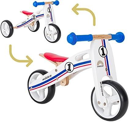 Bikestar - Bicicleta de Madera para niños a Partir de 18 Meses | 7 Pulgadas Convertible Mini 2 en 1 Bicicleta y Bicicleta | Blanco Azul Rojo: Amazon.es: Juguetes y juegos