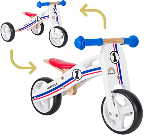 BIKESTAR® Original Safety Wooden Lightweight Kids First Balance Running Bike for age 2 year old boys and girls | 7 Inch convertible Mini 2 in 1 Bike and Tricycle for Early Riders | White Rallye Design