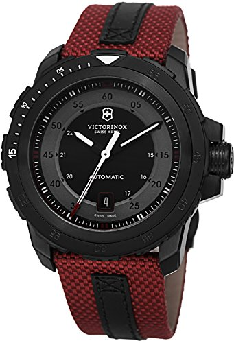 Victorinox Swiss Army Men's Automatic Alpnach Black Leather and Red Nylon Strap Watch 44mm 241686