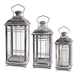 Set of 3 Mission Style White and Graphite Grey Candle Lanterns – 14-17-20 Inch – Melrose, Gray and White For Sale