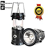 Outdoor Camping Lantern, Rechargeable Led Solar Lanterns Ultra Bight, Portable Flashlight with Handle for Power Outages, Emergencies, Hurricanes, Hiking, Fishing, Tent (Black, 1 pack)