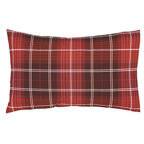 Catherine Lansfield Brushed Cotton Tartan Check Housewife Pillowcase Pair Navy Turner Bianca BD/45137/W/HPC2/NA