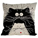 Ikevan Hot Selling Pillowcase Vintage Cat Dog Cotton Pillow Case Sofa Waist Throw Cushion Cover Home Decor 18x18 Inch (03)