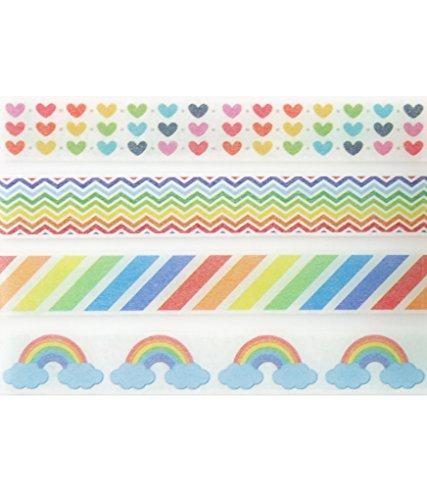 Rainbow Multi-Colored Washi Tape Set (4 Rolls Total - 1 of Each Design Pictured) - Rainbow Striped & Chevron Printed Tape, Rainbow Hearts Crafting Tape, Rainbow Clouds Wrapping Tape