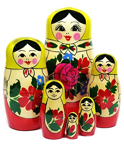 5.5'' Set of 6 Semenov Wooden Russian Nesting Dolls - Matryoshka Stacking Nested Wood Dolls