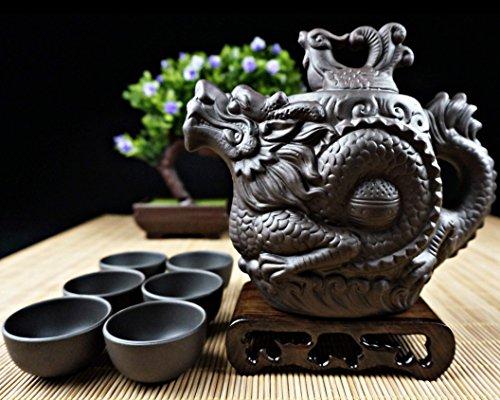 "Dragon Tea Set 8 Pieces - Teapot + Lid + 6 Cups - The ""Original Dragon"" model - Premium Quality Purple Clay - 100% Hand-Made"