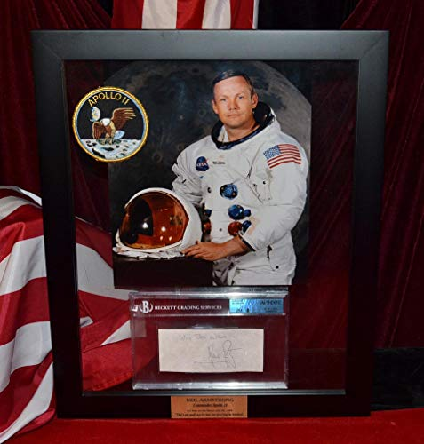 Autographed Collection - BEST Signed NEIL ARMSTRONG Autograph Frame, JSA, BECKETT Huge Apollo COLLECTION with AP landing quote, newspaper, magazines, DVD, buttons and more!