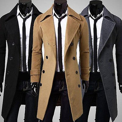 Men's Slim Stylish Trench Coat Winter Long Jacket Double Breasted Overcoat New.