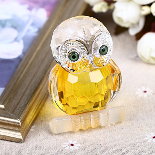 - H&D Yellow Mini Crystal Owl Figurine Collection Paperweight Table Centerpiece Ornament