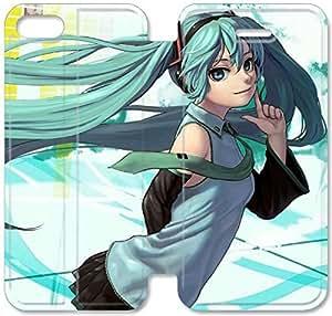 Hatsune Miku caso I6O67H1 iPhone 5C tirón del cuero funda B2U37E7 Genérico caso funda de teléfono para los hombres
