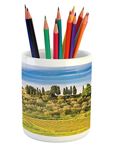 Lunarable Tuscan Pencil Pen Holder, Green Field Tranquil Landscape Retro Stone Toscana Farmhouse Vineyard, Printed Ceramic Pencil Pen Holder for Desk Office Accessory, Blue Green and ()