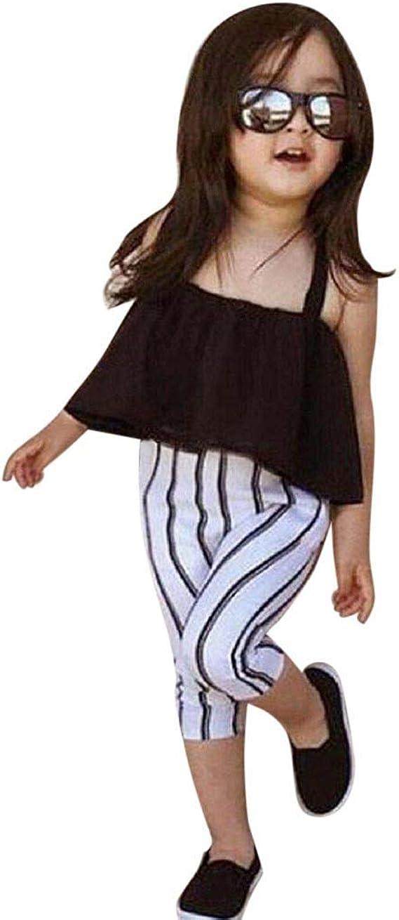 oklady Toddler Kids Girl Clothes Sleeveless Vest Stripe Shorts Little Girl Summer Outfit Sets