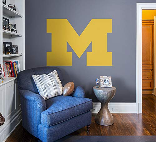 Logo Wall Decor - Fathead NCAA Michigan Wolverines - Block M Logo- Officially Licensed Removable Wall Decal, Multicolor, Giant - 61-62481