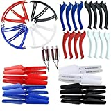 Upgraded 4 Colors Spare Parts 16pcs Main Blade Propellers & 4 Motors & 16pcs Propeller Protectors Blades Frame & 16pcs Landing Skid for Syma X5SC X5SW RC Quadcopter Toy