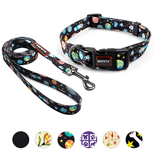 (QQPETS Cute Dog Collar Leash Kit Heavy Duty Nylon Pet Adjustable Dog Collar Quick Release Buckle for Small Medium Puppy Breed Girl Boy Up to 37lb Neck 10-15