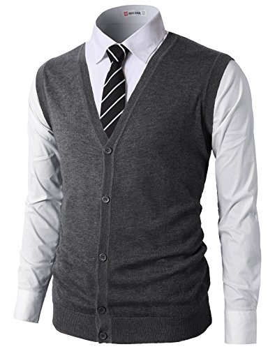 H2H Mens Casual Fitted Knitted V-Neck Button-Down Vests Charcoal US M/Asia L (CMOV038)