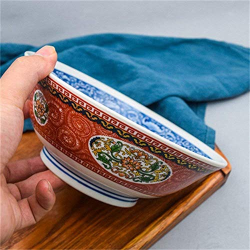 Canju Kitchen/Tableware/for Home Outdoor Camping Large Soup Ramen Noodle Bowl Fruit Salad Mixing Serving Bowl Creative Hand Painted Palace Ceramic Tableware 7.7 Inches,Red