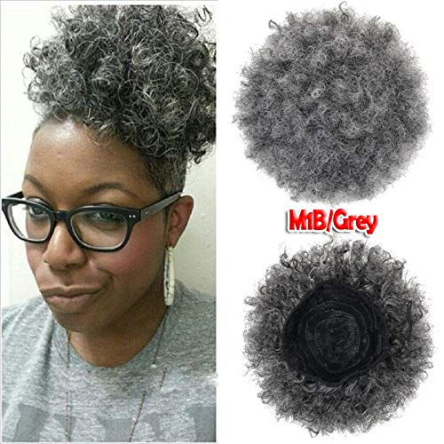 Afro Kinky Curly Hair Ponytail Hair Pieces Burgundy Black Short Cute Ponytail Hair For Women Black #1B/Silver Grey 8inches -