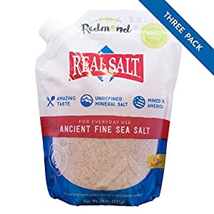 Redmond Real Salt, Ancient Fine Sea Salt, Unrefined Mineral Salt, 26 Ounce Pouch (3 Pack)