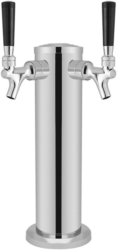 Torre de cerveza de barril, dispensador de torre de cerveza doble de acero inoxidable, grifo de cromo para beber, para uso en bares de bares en el hogar