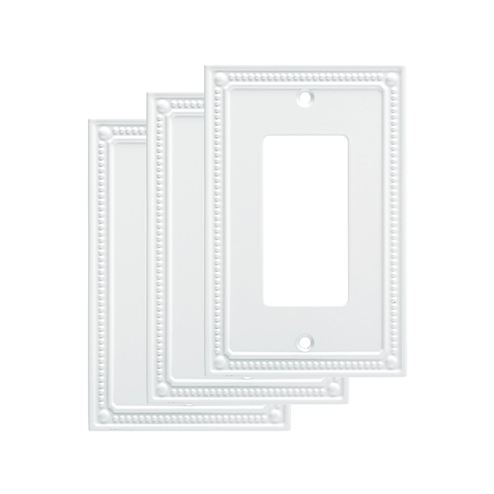 Franklin Brass W35060M-PW-C Classic Beaded Single Decorator Wall Plate/Switch Plate/Cover (3 Pack), Pure White
