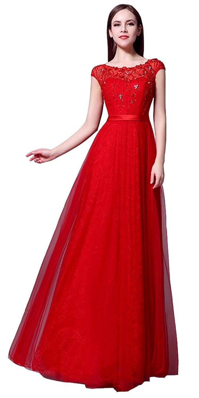 Women Crystal Beaded Illusory Tulle Evening Bridesmaid Prom Dress Long Formal