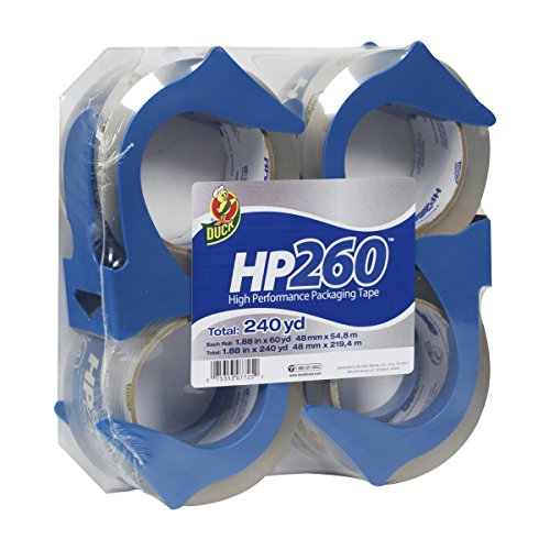 Duck HP260 Packing Tape, 4 Rolls With Dispensers, 1.88 Inch x 60 Yard, Clear (847667) Henkel Duct Tape