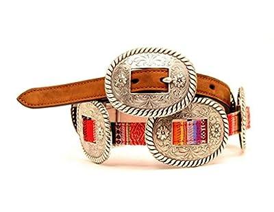 Nocona Women's Thin Multi Colored Conchos Belt, Brown, L