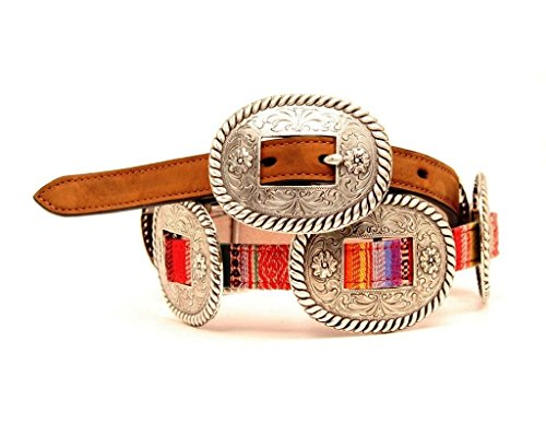 Nocona Women's Thin Multi Colored Conchos Belt, Brown, XL (Silver Concho Belt)