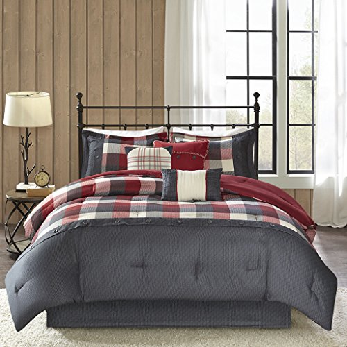 Madison Park Ridge Queen Size Bed Comforter Set Bed in A Bag - Red, Plaid - 7 Pieces Bedding Sets - Ultra Soft Microfiber Bedroom - Comforters Plaid Bed