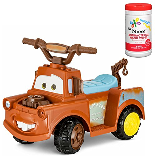 Disney Mater 6-Volt Battery Powered Quad Ride-On Toy with Charger Plus Antibacterial Hand Wipes