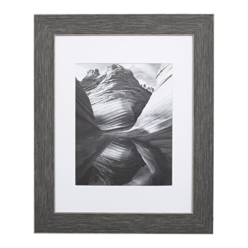11x14 Picture Frame Distressed Grey - Matted to 8x10, Frames by EcoHome (11x14 Wood Distressed Frame)