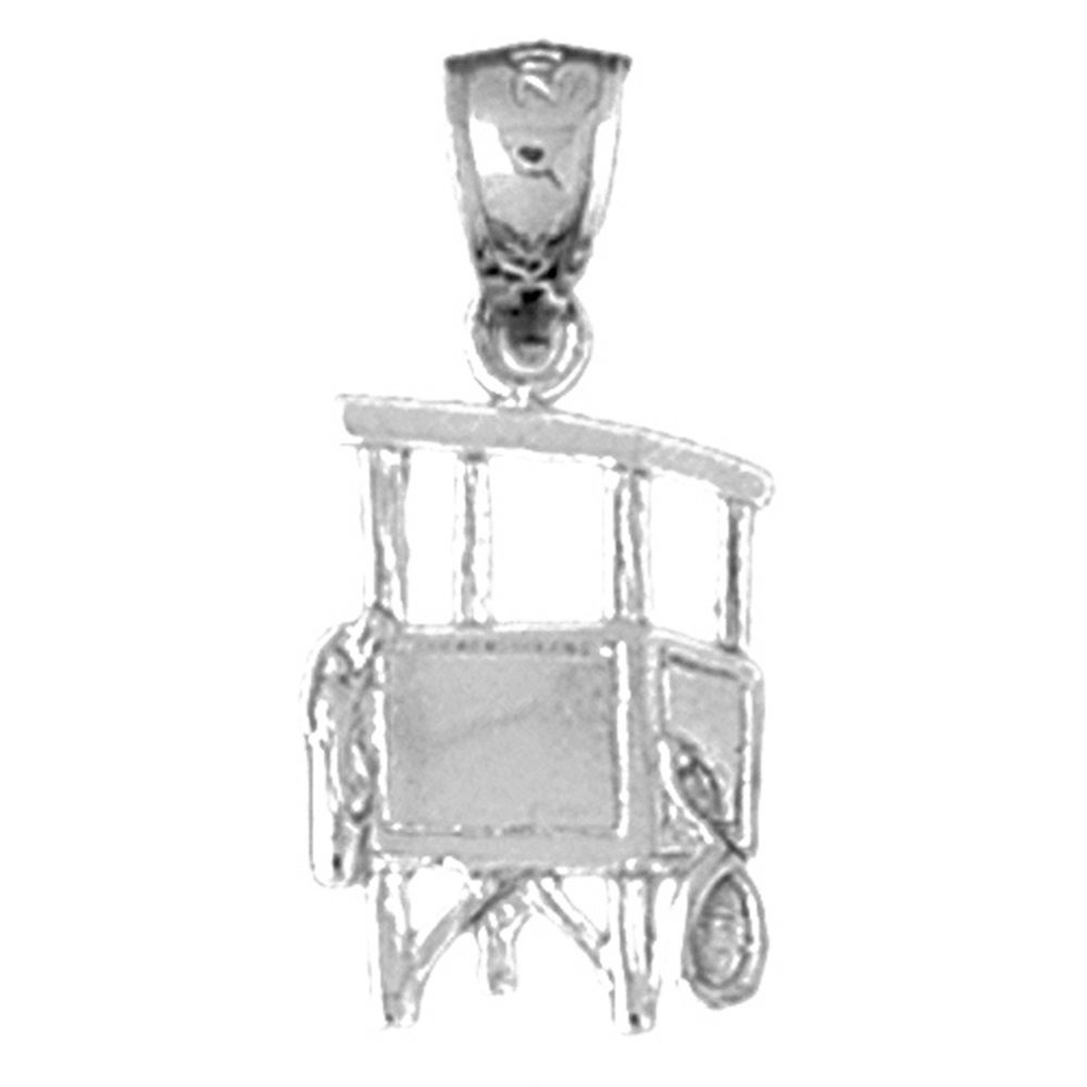 Jewels Obsession Lifeguard Tower Necklace Rhodium-plated 925 Silver Lifeguard Tower Pendant with 24 Necklace