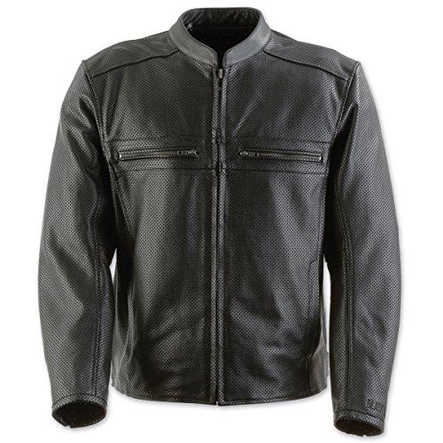 (Black Brand Men's Leather Perforated Fahrenheit KoolTeK Motorcycle Jacket (Black, Large))