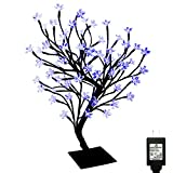 PMS 17 inch 72 LEDs Cherry Blossom Desk Top Bonsai Tree Light with Low Voltage Transformer, UL Listed, Ideal for Christmas, Party, Wedding, Ceremony, Celebration Decoration (Blue)