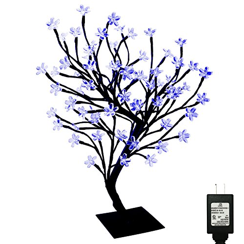 PMS 23inch 90 LEDs Cherry Blossom Desk Top Bonsai Tree Light with Low Voltage Transformer, UL Listed, Ideal for Christmas, Party, Wedding, Ceremony, Celebration Decoration(Blue) by Pms