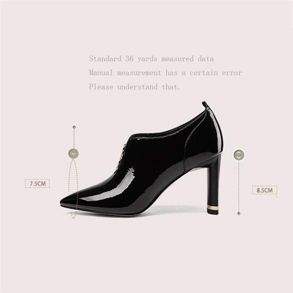 Gfphfm Damenschuhe Frühjahr Fall Fashion Fashion Fashion High Heels 2019 Neuer Pointted Metal Rhinestone Thick Heel Deep Mouth Leder Single schuhe A 35 582167