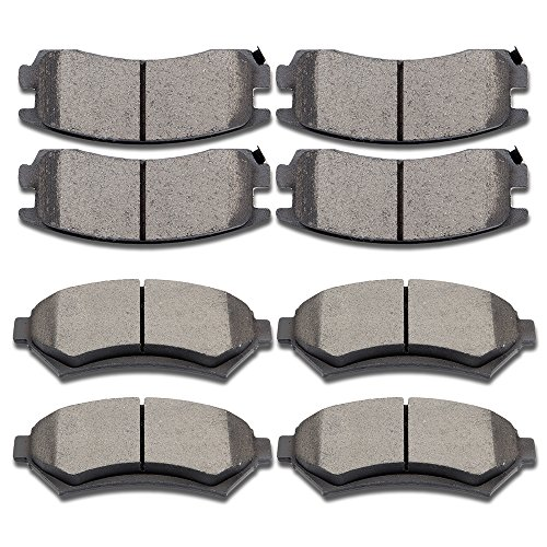 SCITOO Ceramic Discs Brake Pads Kits, 8pcs Disc Brakes Pads Set fit Buick Lesabre/Park Avenue/Riviera,Cadillac DeVille/Eldorado/Seville,Oldsmobile Aurora,Pontiac Bonneville,Front and Rear