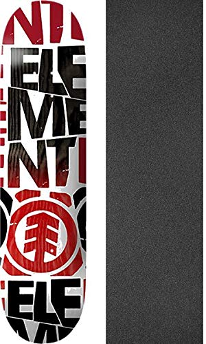 "Element Skateboards Blockers White/Red/Black Skateboard Deck - 7.5"" x 31"" with Black Magic Black Griptape - Bundle of 2 Items"