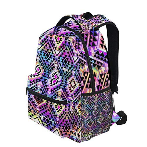 KUDOUXIA School Backpack Cool Aztec Geo Over Paint 1st Grade Lightweight Bookbag Daypack Fits Small Laptop for Kids Teens Travel Bag with 2 Side Pouchs Adorable 16