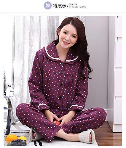 faeaad99d6 HITSAN J&Q Female Pink Cotton Lingerie Winter Warm Pajama Set Medium Thick  Cute Home wear Pyjamas Women Winter Plus Size Night Suit 3868 Size L:  Amazon.in: ...