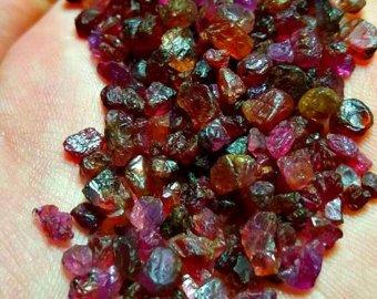 1 Gram Fluorescent Ruby Crystals. Rough Ruby Corundum