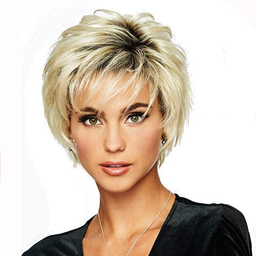 XZEN Short Layered Wig for Women Girls Mix Blonde Shaggy Curly Wig with Side Bangs Natural Looking Full Synthetic Wig]()