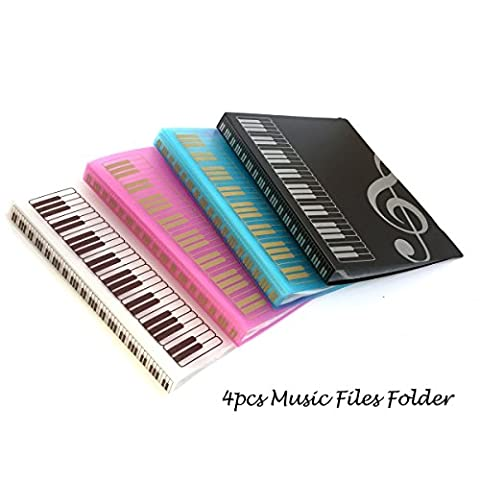 Crosstree 4pcs Sheet-Music-Files-Folder-Holder, Pink & Blue & Black and Crystal Clear 1 pc of Each Color. (One (Amazon Digital Sheet Music)